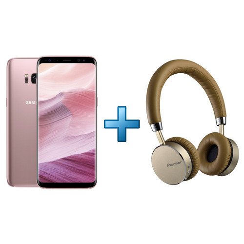 Samsung Galaxy S8 - Rose + Pioneer SE-MJ561BT-T Marron