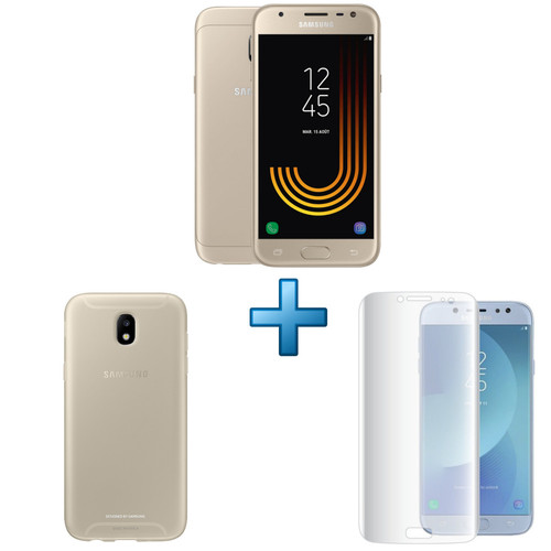 Samsung Galaxy J3 2017 - Or + Coque Jelly Or + Film de protection