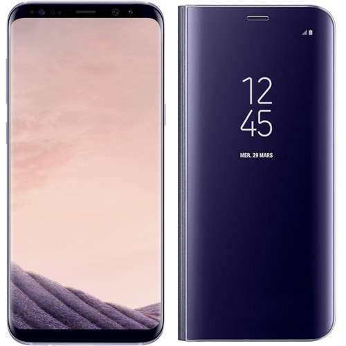 Samsung Galaxy S8 - Orchidée + Clear View Fonction Stand Lavande