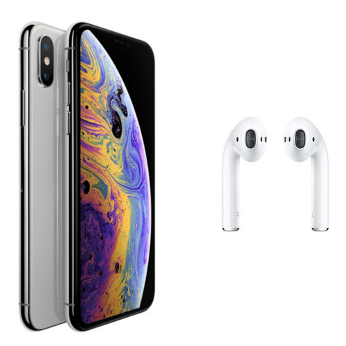 Apple iPhone Xs Max - 64 Go - Argent + Airpods