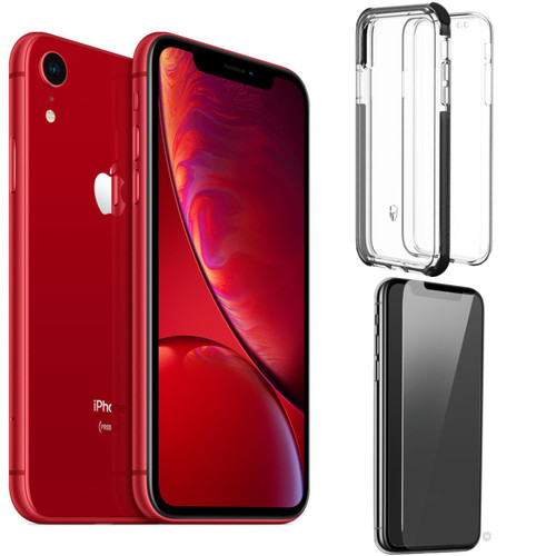 Apple iPhone Xr - 64 Go - (PRODUCT) RED + Coque + Film de Protection