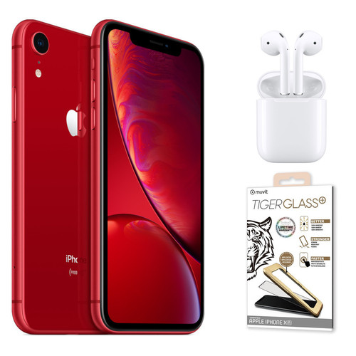 "Apple iPhone Xr - 64 Go - RED + Airpods 2019 ""Classic"" + Verre trempé"