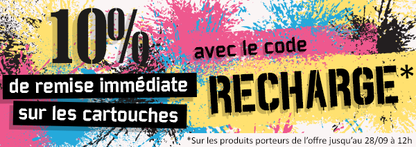 10% cartouches d'encre code RECHARGE